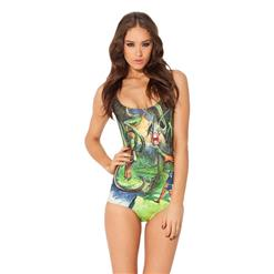 One-piece Swimwear, Dinosaur Digital Print Swimwear, Dinosaur Digital Print Romper Swimwear, #N7734