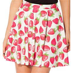 Strawberries and Cream Skater Skirt, Strawberries Skater Skirt, Strawberries & Cream Skirt, #HG7991