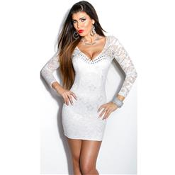 Lace Long Sleeve White Dress, Sleeve White Mini Dress, Rhinestone Lace Sleeve Dress, #N8232