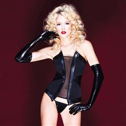 Faux Leather and Mesh Bustier, Power Net Black Bustier, Lycra Lined Power Mesh Bustier, #N8437