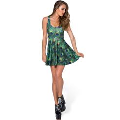 Peacock Feathers Skater Dress, Sleevele Peacock Print Pleated Dress, Peacock Feathers Reversible Mini Dress, #N8764