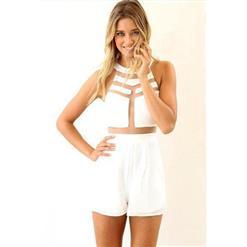Sheer Mesh Cutout Short Jumpsuit, Backless Mesh Patchwork Jumpsuit, White High Neckline Sleeveless Short Playsuit, #N8936