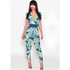 Short Sleeve Deep V Neck Jumpsuit, Watercolour Print Sash Playsuit, Empire Waist Watercolour Print Overalls, #N8938