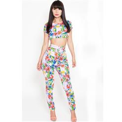 Vogue Short Sleeve 2pcs Pant Sets, Floral Print Skinny Playsuit, O Neck Floral Regular Polyester Jumpsuits, #N8939