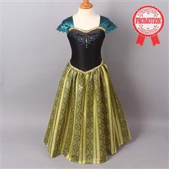 Frozen Princess Anna Costume, Cap Sleeves Frozen Anna Dress, Disney Princess Anna Coronation Day Dress, #N8964