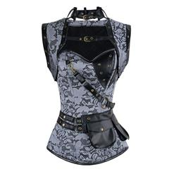 Black Faux Leather and White Lace Corset, Steel Boned Corset with Sleeveless Jacket, Steampunk High Neck Pocket Corset, #N8980