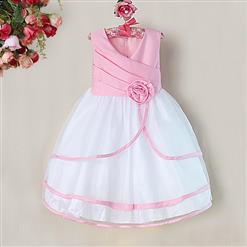 Pink and White Birthday Baby Girl Dress, Flower Embellish Fold Princess Dress, Mesh and Satin Occasion Dress, #N9003