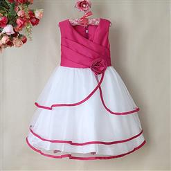 Rose and White Birthday Baby Girl Dress, Flower Embellish Fold Princess Dress, Mesh and Satin Occasion Dress, #N9004