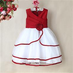 Red and White Birthday Baby Girl Dress, Flower Embellish Fold Princess Dress, Mesh and Satin Occasion Dress, #N9005