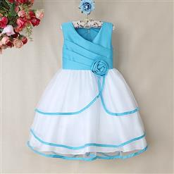 Blue and White Birthday Baby Girl Dress, Flower Embellish Fold Princess Dress, Mesh and Satin Occasion Dress, #N9006