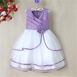 Purple and White Birthday Baby Girl Dress, Flower Embellish Fold Princess Dress, Mesh and Satin Occasion Dress, #N9007