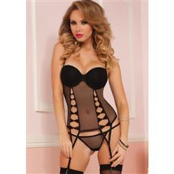Bow And Beautiful Bustier,Tempt Open Bow Lingerie Set, Black Fence Mesh Lingerie Set, #N9016
