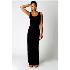 Tank Top Ankle Length Long Maxi Dress, Scoop Neck Sleeveless Maxi Dress, Black Color Party Casual Maxi Dress, #N9020