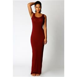 Tank Top Ankle Length Long Maxi Dress, Scoop Neck Sleeveless Maxi Dress, Burgundy Color Party Casual Maxi Dress, #N9021