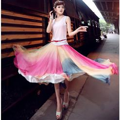 Wrapped Chest Rainbow Tent Dress, Multicolour Full Half-length Maxi Chiffon Skirt, Strapless Two Dressing Ways Dresses, #N9063