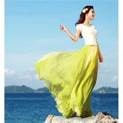 Wrapped Chest Contrast Color Tent Dress, Giant Swing Split Joint Maxi Boho Skirt, Strapless Two Dressing Ways Dresses, #N9068