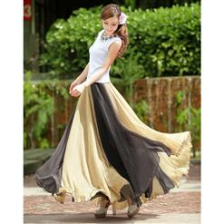 Wrapped Chest Contrast Color Tent Dress, Giant Swing Split Joint Maxi Boho Skirt, Strapless Two Dressing Ways Dresses, #N9069