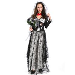 Day of the Dead Boneyard Bride Costume, Deluxe Skeleton Bride Costume, Bone Yard Ghost Bride Costume, #N9124