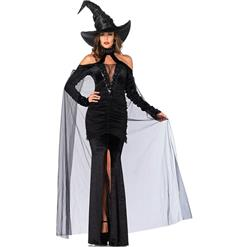 Sexy Black Witch Costume, Sultry Sorceress Costume, Black Velvet Witch Costume,#N9153