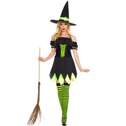 Black and Green Witch Costume, Evil Witch Halloween Costume, Dark Girl Witch Costume, #N9188