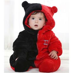 Two Color Stitching Jumpsuits, Have Hat and Zipper Baby Clothes, Comfortable Flannel Cotton Clothes, Baby Halloween Cartoon Clothing, #N9278