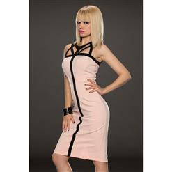 Fashion Pink Back Cross Middle Long Dress N9312
