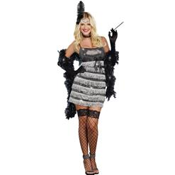 Sophisticated Flapper Costume, Black And Silver Flapper Costume, Sequin Flapper Dress, #N9013