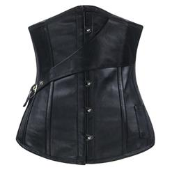 Side Buckle Decorate Underbust Corsets, Cheap High Quality Underbust Corsets, Black Underbust Corset with Pocket, Faux Leather Steel Bone Underbust Co