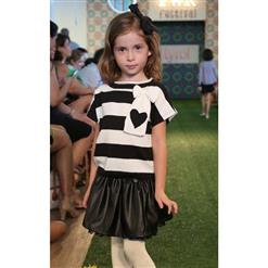 Fashion Black White Stripe Tops And Skirt Outfits, Elegant Black Little Leather Skirt, Cheap High Quality Skirt Outfits, #N9739