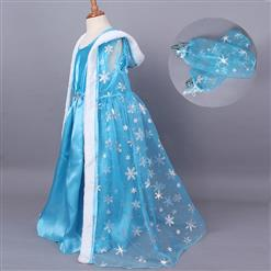 Fashion Blue Cape Outfits, Elegant Snowflake Print Dress , Cheap High Quality Sleeveless Outfits, Fairy Blue Princess Cape Costume, #N9809