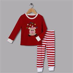 Fashion Red Girl Outfits, Round Neck Baby Suit, Cute Red Reindeer Print Kid Costume,Cheap High Quality Christmas Outfits, #N9811