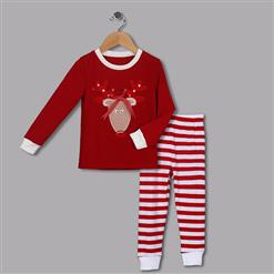 Fashion Red Kid Outfits, Round Neck Baby Suit, Cute Red Sika Deer Print Kid Costume,Cheap High Quality Christmas Outfits, #N9812