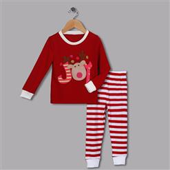 Fashion Red Kid Outfits, Round Neck Baby Suit, Cute Red Gift Reindeer Print Kid Costume,Cheap High Quality Christmas Outfits, #N9813
