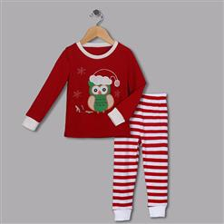 Fashion Red Kid Outfits, Round Neck Baby Suit, Cute Red Owl Print Kid Costume,Cheap High Quality Christmas Outfits, #N9815