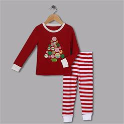 Fashion Red Kid Outfits, Round Neck Baby Suit, Cute Red Tree Shape Print Kid Costume,Cheap High Quality Christmas Outfits, #N9816