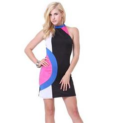 Sexy Casual Dress, Fashion Colorful Dress, Women's  Knee Length Dress, Hot Sale Lady Discount Dress, #N9895
