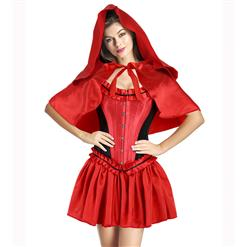 Luxury Costume Sets, Riding Hood Costume, Halloween Costume, Cheap Women's Costume, Red Black Riding Hood Costume, #N9947