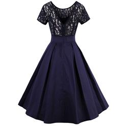 Women's Vintage Summer Lace High-low Ruffled Dress N13060