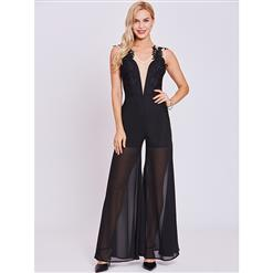 Chiffon Jumpsuit for Women, Sleeveless Black Jumpsuit, V Neck Black Jumpsuit, Black Jumpsuit for Women, Sexy Appliques Jumpsuit, Black Chiffion Jumpsuit, #N15640