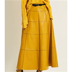 Sexy Skirt for Women, Sexy Yellow Long Skirt,  Ankle-Length Skirt, Yellow Sexy Skirts, Leather Yellow Skirt, Women Leather Skirts, High-Waist Long Skirts, #N15754