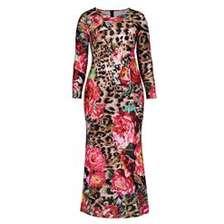 Long Sleeve Dresses for Women, V Neck Maxi Dress, Plus Size Maxi Dress, Flower Leopard Print Maxi Dress, Slim Fit Maxi Dress, V Neck Fashion Maxi Dresses, #N15752