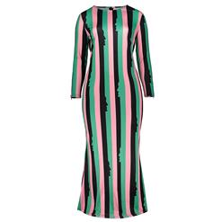Long Sleeve Dresses for Women, Round Neck Maxi Dress, Plus Size Maxi Dress, Multi-color Stripe Maxi Dress, Slim Fit Maxi Dress, Round Neck Fashion Maxi Dresses, #N15751