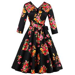 3/4 Length Sleeve, Vintage Dress for Women, Fashion Dresses for Women Cocktail Party, Casual Swing Dress, Square Neck Swing Dress, #N14448