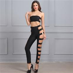 Sexy Bandage Set, Women's Black Club Set, Sexy Clubwear Outfit, Sexy Pant Sets, Two Pieces Set, #N15214