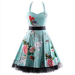 Retro Dresses for Women, Vintage Dresses for Women, Sexy Dresses for Women Cocktail Party, Casual Mini dress, Flower Print Swing Daily Dress, #N14857