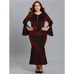Wine-red Dress Plus Size, V Neck Dress, Bell Sleeve Party Dress, Plus Size Dresses for Women, Polka Dots Dress Plus Size, Sexy Party Dress for Women, #N15538