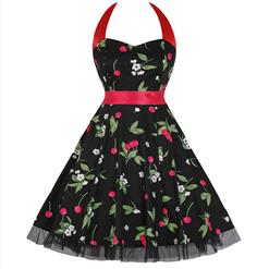 Retro Dresses for Women, Vintage Dresses for Women, Sexy Dresses for Women Cocktail Party, Casual Mini dress, Cherry Print Swing Daily Dress, #N14854