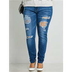Plus Size Jeans for Women, Full Length Jean Pants, Street Casual Jean Pants, Women Cropped Jean Pants, Fashion Cropped Denim Pants, Fashion Jeans for Women, Skinny Denim Pants, #N15730