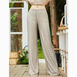 Full Length Pants, Fashion Wide Legs Pants, Loose Dot Pants, Pure Silver Wide Leg Pants, Solid Color Pants, Loose Casual Pants, Casual Wide Legs Pants, #N15687