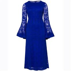 Long Sleeve Dress, Round Neck Dress, Plus Size Dress, Blue Lace Dress, Maxi Dress, Slim Fit Dress, Solid Color Dresses, Elegant Dresses for Women, Bell Sleeve Dress, #N15620